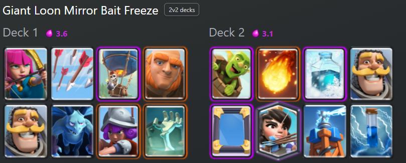 Clash Royale Deck: Giant Loon Mirror Bait Freeze